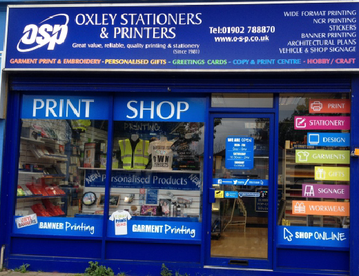 Oxley Stationers and Printers store front